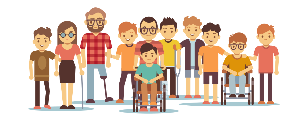 disabled people cartoon together